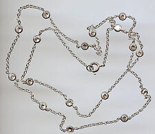 """925 SILVER SINGLE STRAND 4.25 CARAT TW 24"""" RUSSIAN CZ BY THE YARD NECKLACE"""