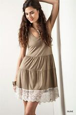 New Womens UMGEE Country Boho Chic Olive Color Lace Bottom Tank Top Sz S