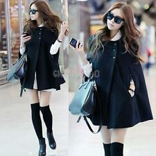Women Ladies Batwing Wool Poncho Winter Warm Coat Jacket Loose Cloak Cape Parka