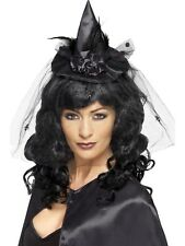 Halloween Fancy Dress Witch Witches Mini Black Facinator Hat Feathers Veil 21989