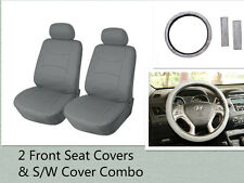 2 Front Car Seat Covers & Steering Wheel  Cover Combo for BMW 6159 Gray