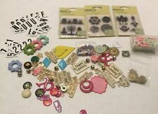 Lot Of Craft Scrapbook Clear Mini Stamps Buttons Stickers Bells
