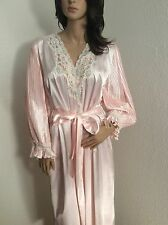 VTG 80's Embroidered Lace Satin Robe Medium Pleated Sleeves and Shoulder Pads!!!