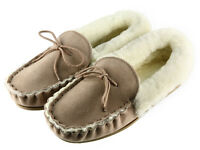 Ladies Real Sheepskin Lined Moccasins Slippers, Suede Upper & Non Slip TPR Sole