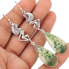 - Moss Agate 925 Sterling Silver Earrings Jewelry SE105095