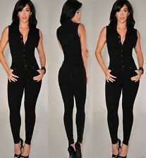 HOT SEXY BLACK V NECK PLUNGE BUTTON UP POCKET JUMPSUIT TOP DRESS SIZE 10 12 UK