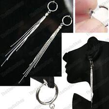 "CLIP ON 4""long SLINKY EARRINGS crystal rhinestone LIQUID SILVER FASHION hoops"