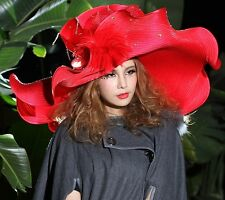 Vintage Women Hats Big Wide Brim Wave Exaggerated Derby Church Evening Party Cap