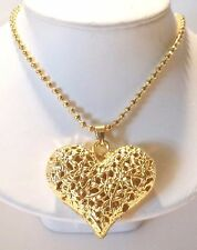 FAT LACE HOLLOW FLOWER HEART BALL CHAIN NECKLACE GOLDTONE SHIPPED IN GIFT BAG