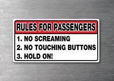 Rules for passengers Sticker 7 yr vinyl water& fade proof car jdm shift drift