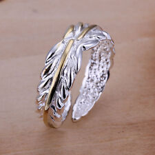 *UK* 925 SILVER PLT & GOLD ADJUSTABLE LEAF / FEATHER RING OLIVE LEAVES THUMB IVY