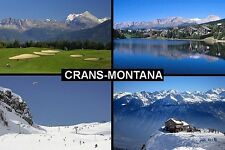 SOUVENIR FRIDGE MAGNET of CRANS-MONTANA SWITZERLAND SKIING