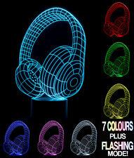 Optical Illusion 3D Lamp Headphones  *Colour Changing 7 Colours*