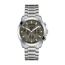 Bulova Men's 96A180 Chronograph Quartz Gray Dial Stainless Steel Dress Watch