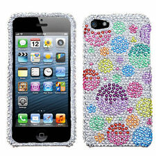 iPhone SE 5S DIAMOND BLING HARD PROTECTOR CASE COLORFUL SILVER PINK BLUE BUBBLE