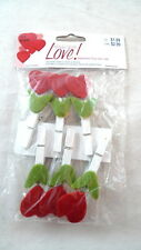 6 Mini Felt Hearts Wooden Clothespin Clips Valentine's Day Memo Photos Crafts