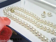 "AAA 7-8MM Natural White Akoya Cultured Pearl Necklace 18"" + Earring A Set"