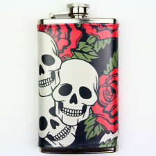 Leather Wrapped 6oz Stainless Steel Hip Flask FSK80 Skulls & Red Roses
