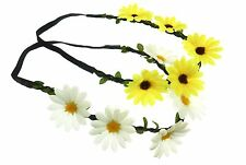 12 NEW Wholesale Floral Daisy Flower Garland Stretch Hair Headbands