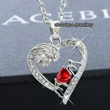 RARE GIFTS FOR HER - Mum Silver Heart Crystal Necklace Xmas Mother Grandmother