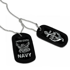 Military Dog Tag w/ US Navy Logo in Stainless Steel Bead Chain Necklace-DOJAN065