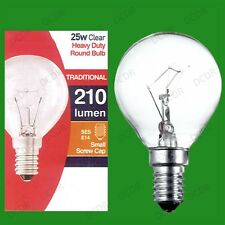 4x 25W Clear Dimmable Golf Round Light Bulbs Small Edison Screw, SES, E14, Lamps