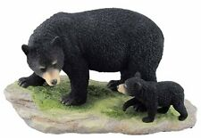 "10.25"" Black Bear Cub & Mother Wildlife Animal Figurine Statue Figure Wild Life"