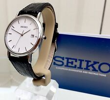 NEW SEIKO MEN'S Watch RRP£150 Super Lightweight CLASSIC LOOK LEATHER STRAP
