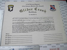 Army Obs. 327th Infantry Regiment GLIDER CRASH 101st Airborne Blank CERTIFICATE