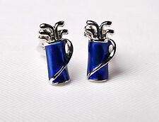 Blue Majestic Golf Bag Silver Clubs Ball Mens Cufflinks Luxury Fashion Jewelry