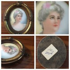 Antique  Hand Painted Miniature Portrait Aristocrat Lady - Bought from a Museum