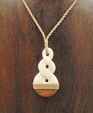 Hawaiian Maori Hei Pikorua Twist Necklace Koa Wood and Bone with Hemp Cord