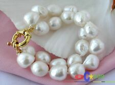 p1138 2ROW 15MM WHITE BAROQUE FRESHWATER CULTURED PEARL BRACELET