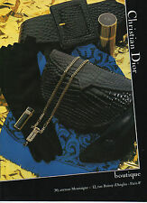 Publicité Advertising 1984  Collection Christian Dior sac à main cuir mode