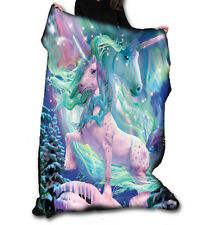 AURORA UNICORN Fleece Blanket / Throw 147cm x 147cm by DAVID PENFOUND