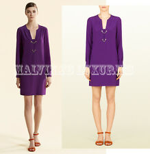 $1,395 GUCCI DRESS PURPLE VIOLET CREPE DE CHINE LONG SLEEVES sz IT 46 US 10