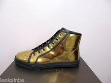 Gucci California Oro Gold Studded High Top Sneakers Flats Shoes 38 8