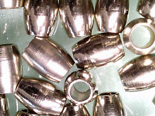 VTG 100 SILVER COLOR METAL OVAL SPACER HEAVY WEIGHT BEADS #050812u