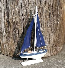 Blue Sailboat Nautical Tabletop Decoration Wood Beach Home Ornament Sealife GIFT