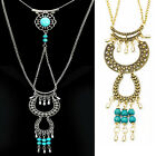Womens Vintage retro Turquoise Tassel Pendant Long necklace Sweater Chain a+