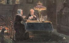 TUCK :FIRELIGHT EFFECTS- a couple playing cards-HEYERMANS-'Oilette' 9016