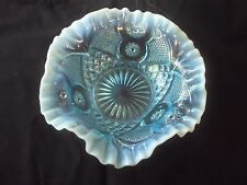 Blue Opalescent Bowl Scheherazade Pattern