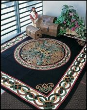 Handmade 100% Cotton Celtic Wheel of Life Tapestry Bedspread Black Tan Twin