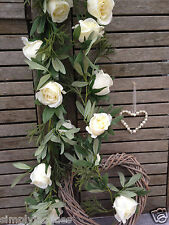 Beautiful Ivory Cream Rose Garland Artificial Silk Flowers, Wedding Bedroom.