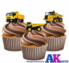 Dumper Trucks Boys Mens Birthday 12 Cup Cake Toppers Edible Decorations