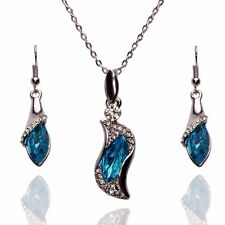 women's necklace earring set18K white gold plated Austrian blue crystal