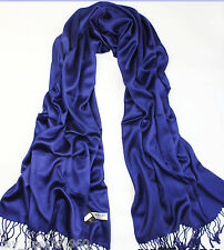 Cashmere Pashmina Scarf Solid Pure Color Warm Soft Shawl Wraps Navy Blue