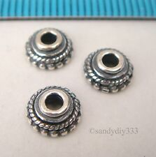 10x OXIDIZED STERLING SILVER ROPE DAISY BEAD CAP 6.7mm SPACER N719A