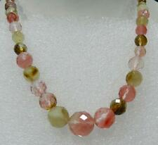 """Faceted 6-14mm Watermelon Tourmaline Gems Round Beads Necklace 18"""""""