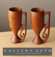 PAIR MID CENTURY DANISH HANDCARVED TEAK VESSELS CUPS! Swedish Modern Decorative